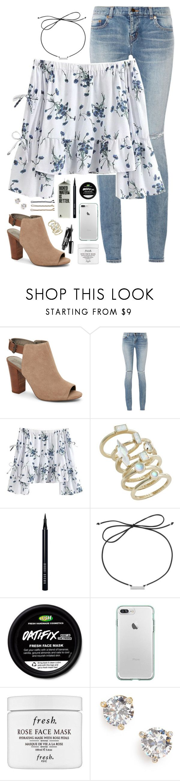 """""""trying out a new style?"""" by simplysarahkate ❤ liked on Polyvore featuring Tahari, Yves Saint Laurent, Kendra Scott, Bobbi Brown Cosmetics, Laundry by Shelli Segal, Guide London, Fresh and Kate Spade"""