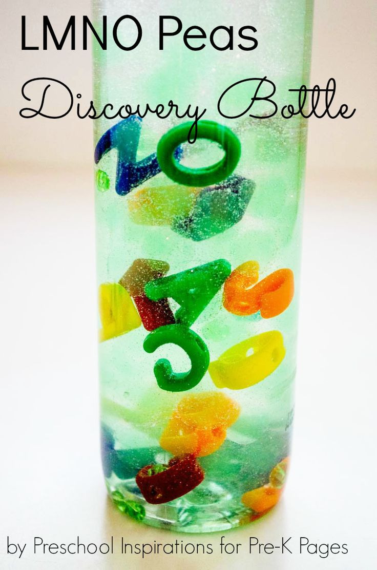 LMNO Peas Inspired Alphabet Discovery Bottle. A fun and playful way to introduce and reinforce letter recognition after reading the book LMNO Peas!