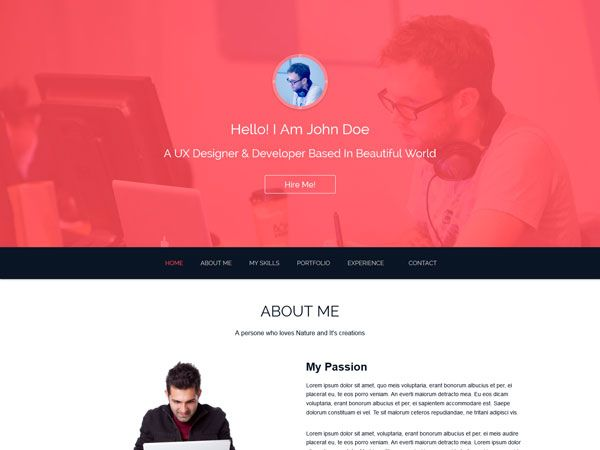 Best Free Personal Vcard  Resume Html Templates Images On