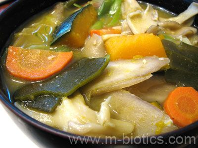 Microbiotic miso soup with gobo root