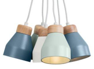 Lampada a sospensione multipla Albert, grigio tenue, blu polvere e blu guscio d'anatra