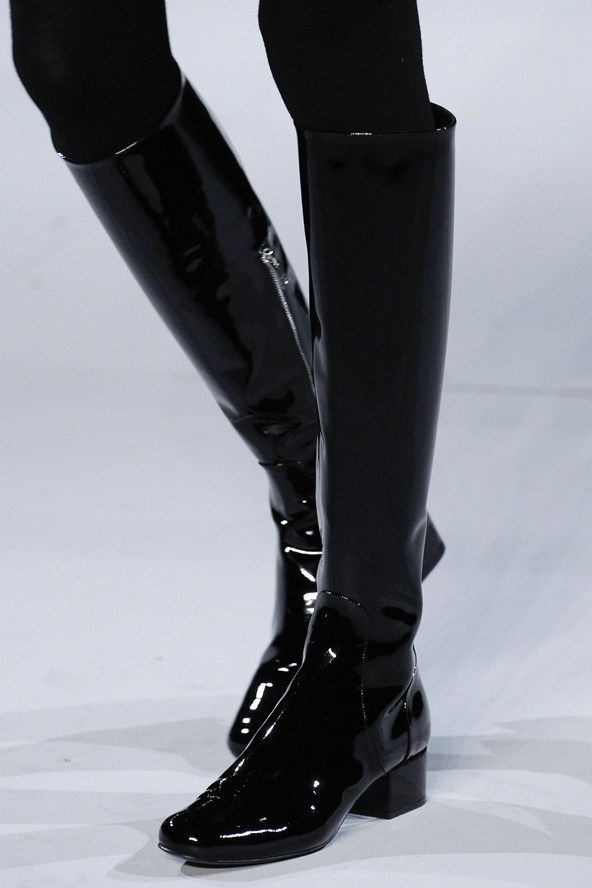 Black patent leather knee high boots. Saint Laurent, RTW FW 2014.