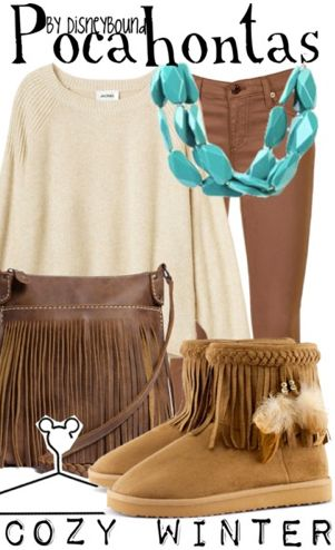 Disneybound outfit: Pocahontas. Minus the fringe boots