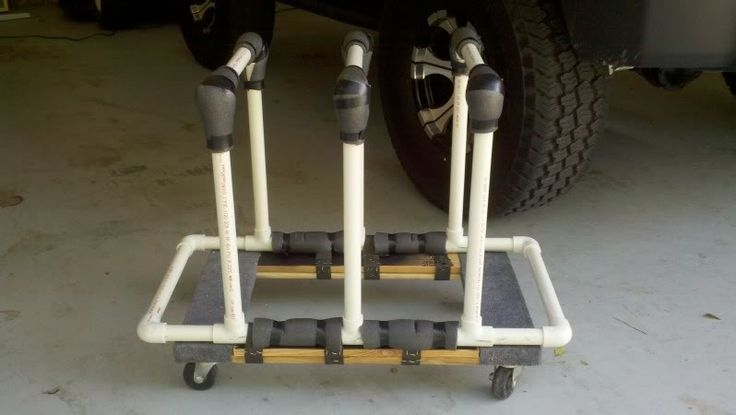 Door Storage Cart by jeeptim3 -- Homemade door storage cart constructed from PVC piping and intended to support two Jeep doors. http://www.homemadetools.net/homemade-door-storage-cart