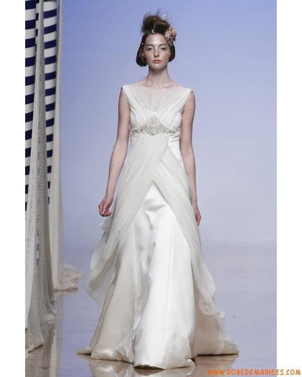 de mariée moderne col bateau en satin et mousseline perles  Robes de ...