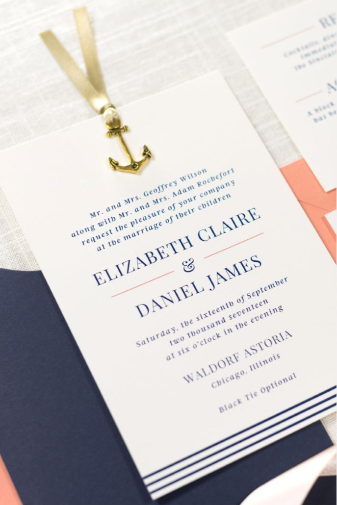 Items similar to Nautical Sliding Wedding Invitation
