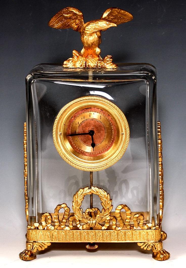 Fine Antique French Clock, Empire Dore Bronze w Eagle, Baccarat Chrystal Claret
