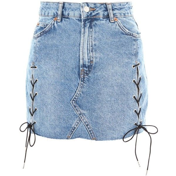 Topshop Moto Lace Up Denim Skirt (140 BRL) ❤ liked on Polyvore featuring skirts, mini skirts, denim, topshop, mid stone, panel skirt, short skirts, denim skirts, short mini skirts and denim mini skirt