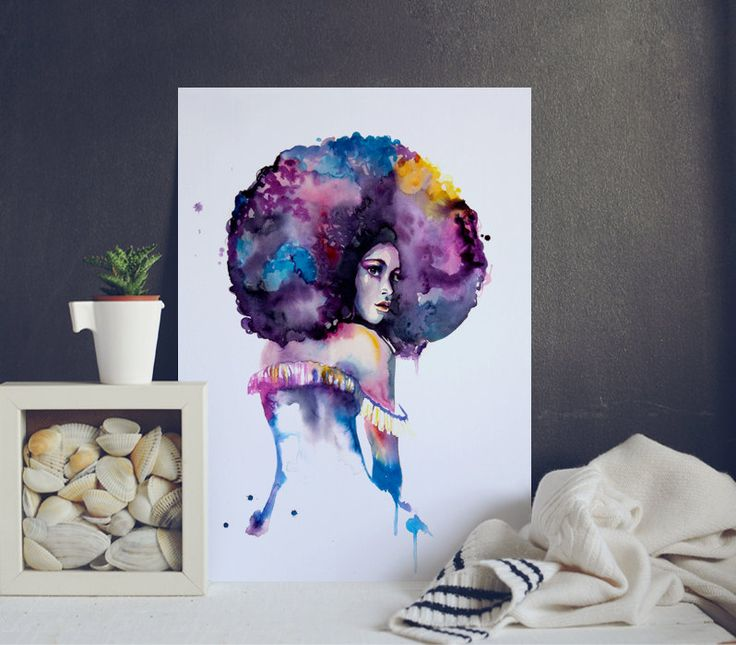 Cool Watercolor Print - Beautiful Lady - Afro Woman Poster ...