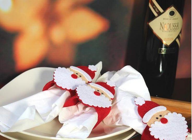 ПО EMS 500 шт. Рождество Санта-Клаус Кольца Для Салфеток Держатели для Салфеток Декор Обеденный Стол Для Ресторана Поставки Рождество