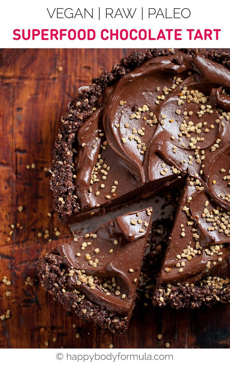 Superfood Chocolate Tart - Raw, Vegan, Paleo Friendly. Recipe by Teresa Cutter