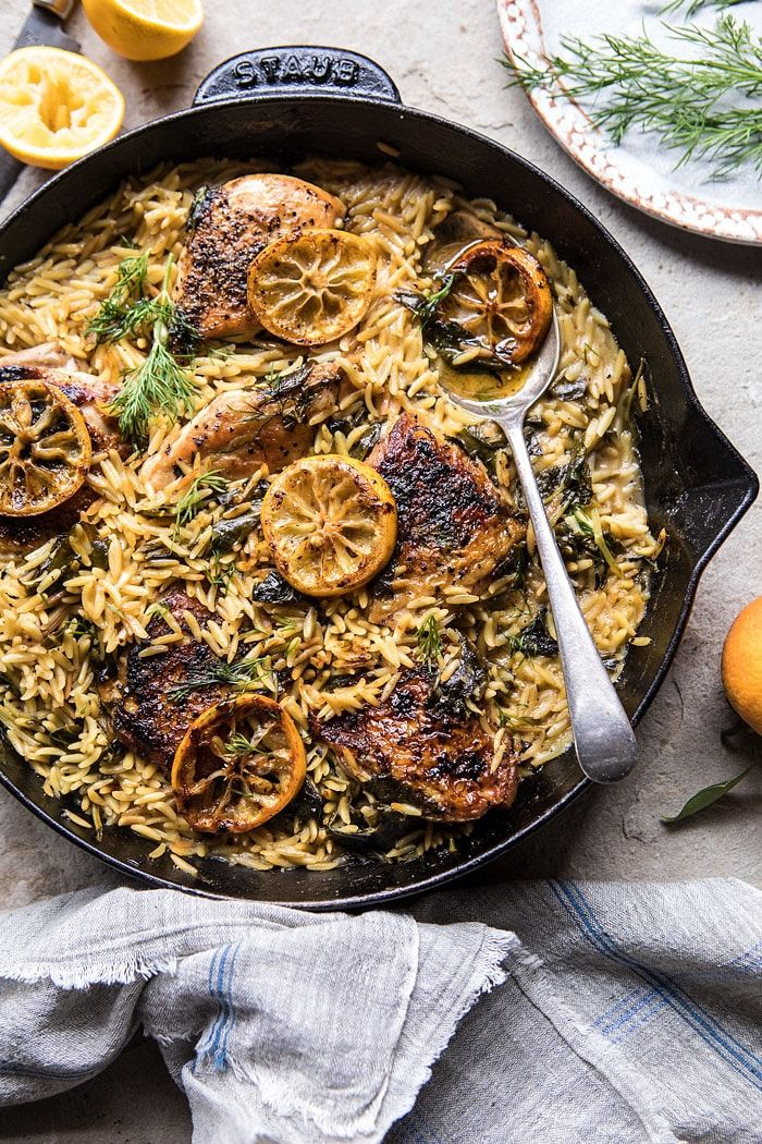 One Skillet Lemon Butter Chicken and Orzo, just what tonight needs. You guys, I am not going to lie, at this point I really don't even know what day it is. This entire time I've been in South Korea, I