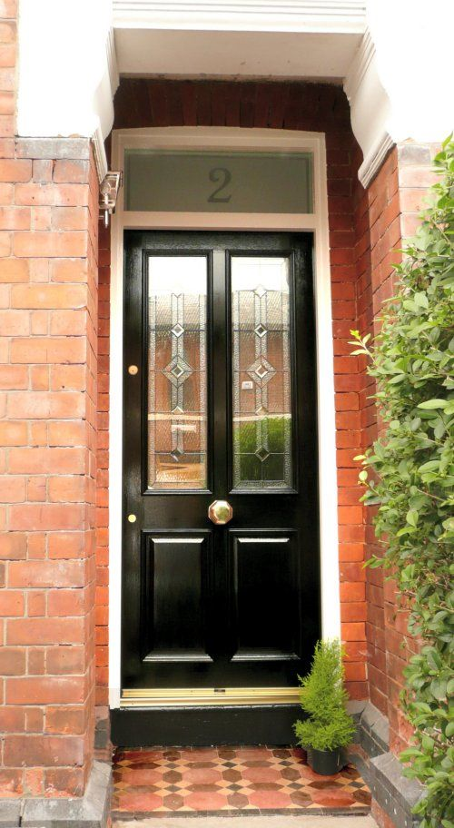 Grand victorian derby leaded front door jet black for for Door furniture uk