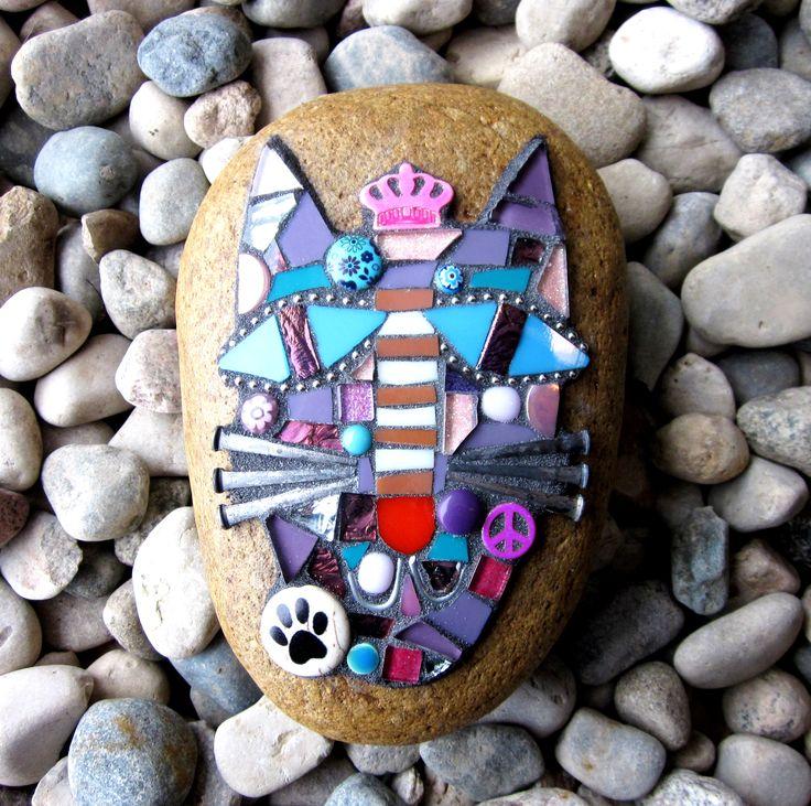 cat mosaic on stone mixed media kitty purple pink blue art