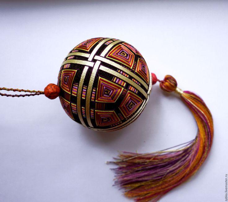 """Купить Темари """"Лабиринт"""" - комбинированный, Осенние цвета, коричнево-рыжий, темари, темари шар, подвеска"""