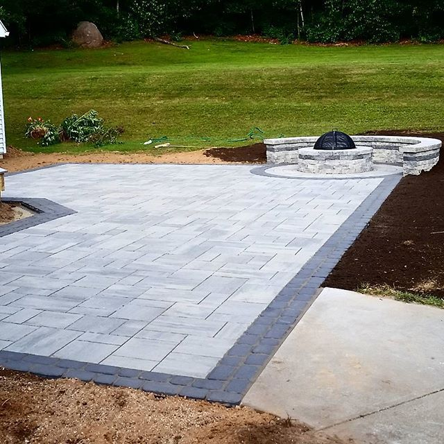 Beautiful Techo-bloc patio project completed today using 560 Sq ft Blu Shale grey, with a double vil - jdlandscapingllc