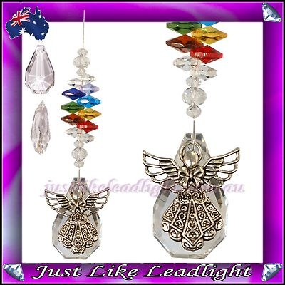 chakra angel suncatcher with a large 50mm clear crystal pendant $15