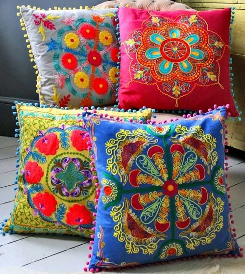 colorful embroidered pillows-my favorite  http://pinorpeg.com                                                                                                                                                                                 More