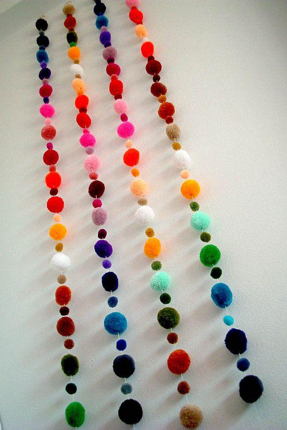 Pom Pom Garland, vente en gros, pompon de laine, pompon, boule de fil, custom, mobile, pépinière, coloré, carnaval, fête, 3 yard, 15 pieds, 10 brins