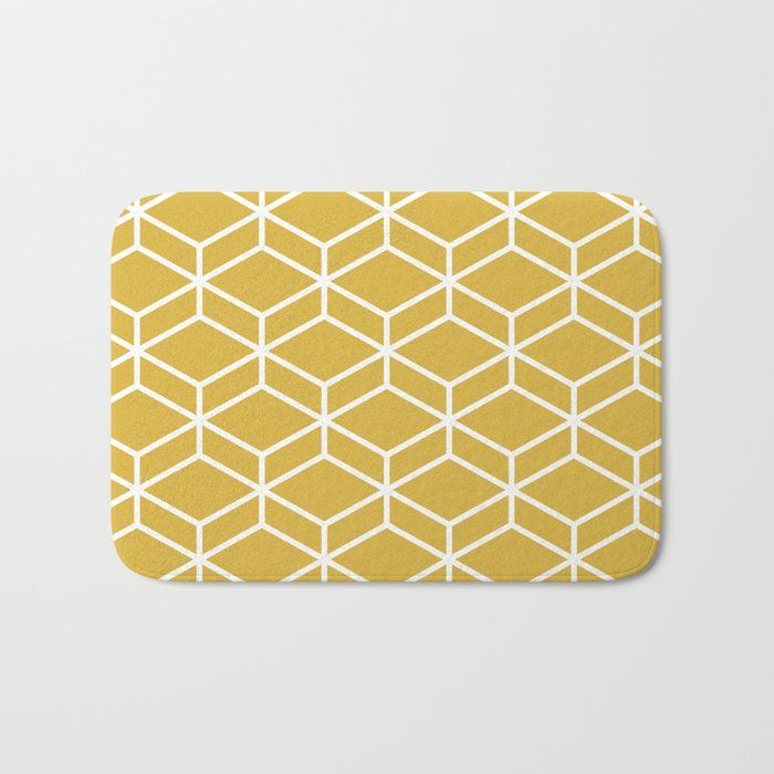 Geometric Honeycomb Lattice In White And Mustard Yellow Modern
