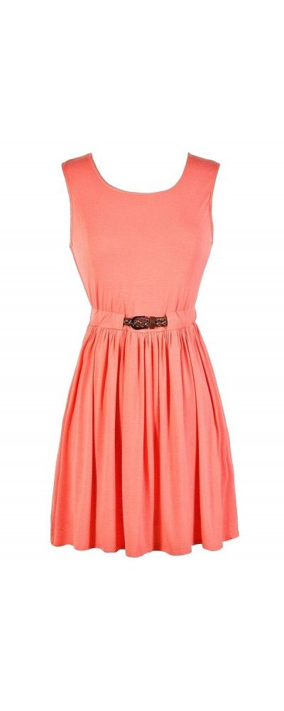 Always There For You Belted Dress in Coral Pink  www.lilyboutique.com
