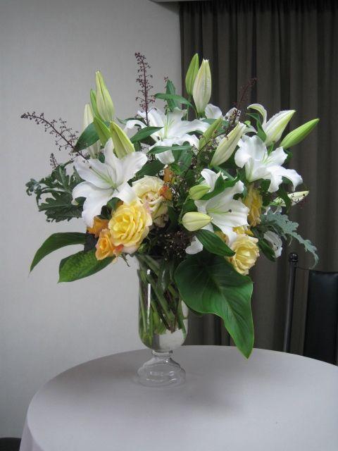 White Oriental Lilies , Yellow Garden Roses