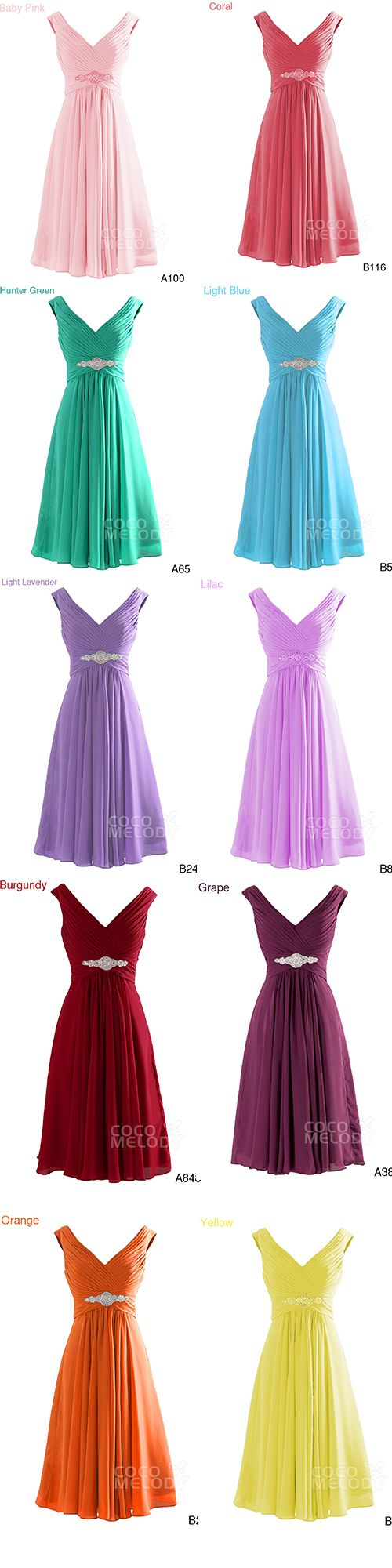 $71. Chiffon knee length #bridesmaid #dresses, 20+ colors available. #cocomelody