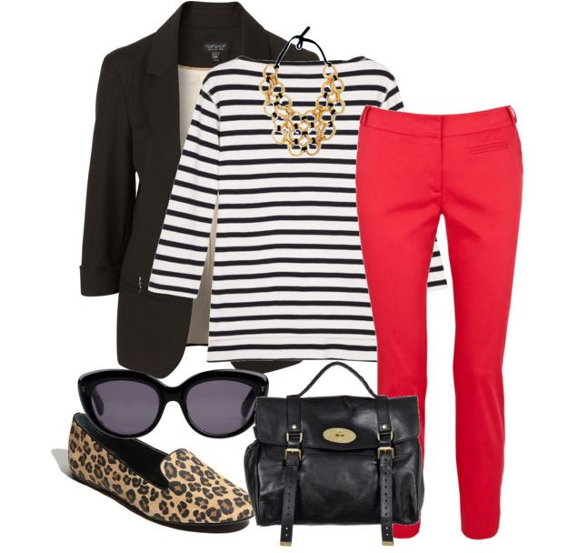 Red, Leopard, Stripes---You Have A Spectacular Outfit...Love Red & Black & the Leopard Print Flats Go Beautifully!!  This Is A Great Look!!