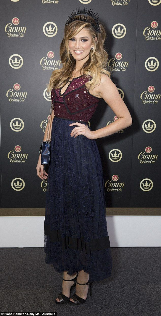 Stunning: Delta Goodrem was dressed to impress when she arrived at the BMW Caulfield Cup r...