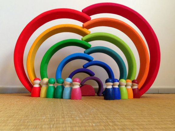 Grimm's XL 12-Piece Rainbow Stacking Toy with 12 Rainbow Friends Peg Dolls