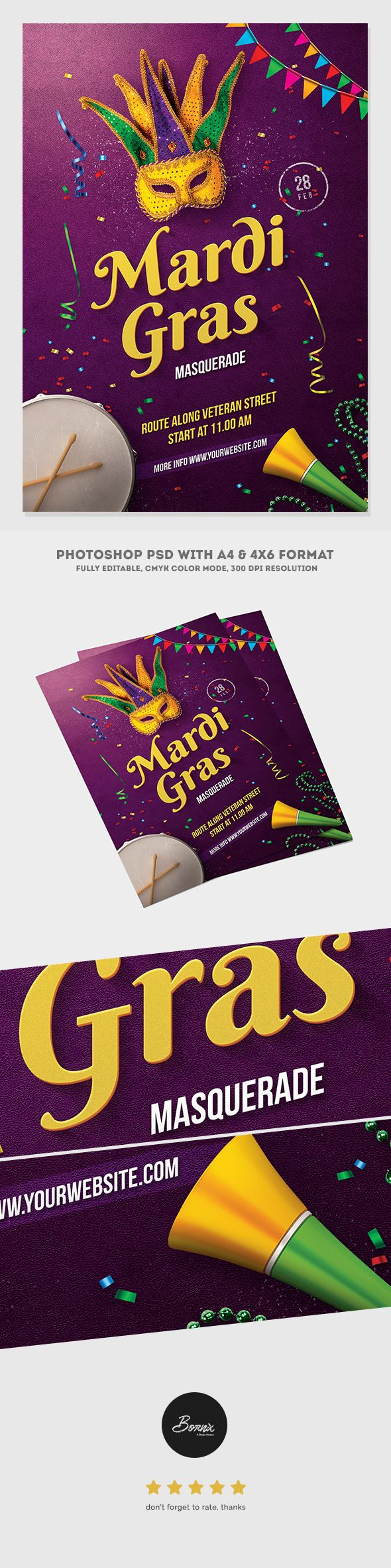 Mardi Gras Masquerade Flyer is flyer template for Photoshop, perfect to  promote your next Mardi