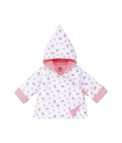 Giacca con cappuccio bebé bambina imbottita in seersucker stampato bianco Lait / lotto Multico - Petit Bateau
