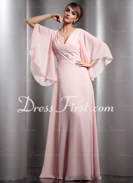 A-Line/Princess V-neck Floor-Length Chiffon Mother of the Bride Dress With Ruffle Beading (008013779)