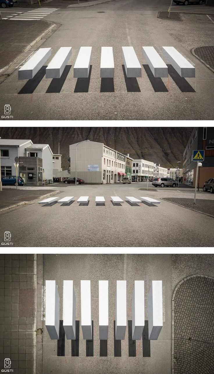 3D Zebra Stripe Crosswalk in Iceland Slows