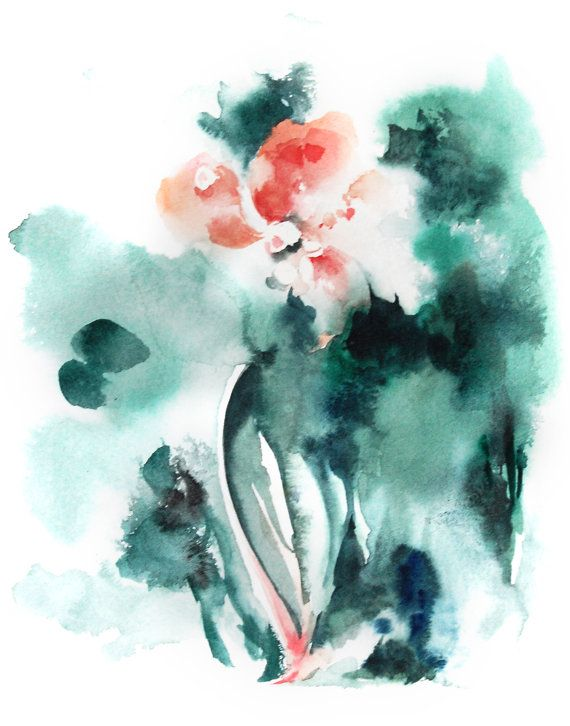 手机壳定制jordan retro  flint gs Watercolor Painting Art Print Abstract Flower Salmon Pink Emerald Green Modern Wall Art Watercolor Art