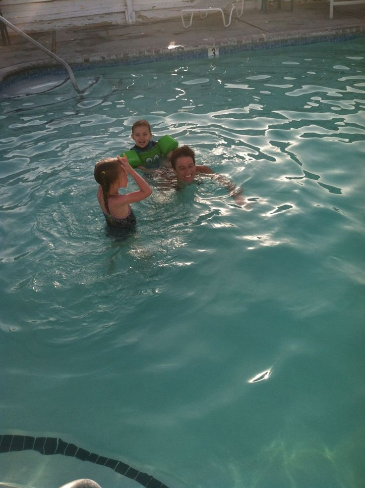 Swimming at the pool with my kiddos, my 6 year old learned to swim! #haywardpinyourpool
