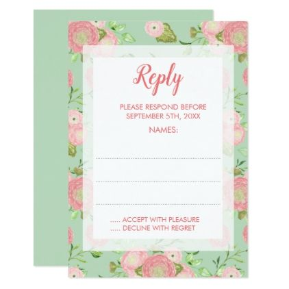 Spring Ranunculus Mint Floral Wedding Reply Cards - floral style flower flowers stylish diy personalize