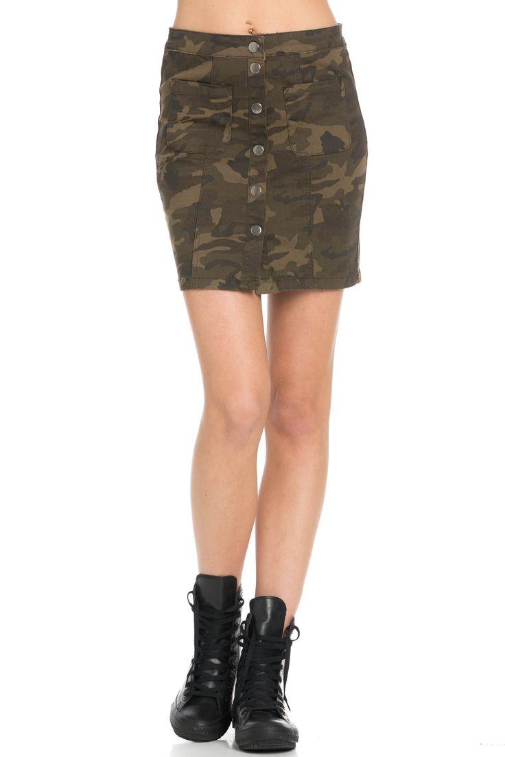 Button Down Camo Jean Mini Skirt