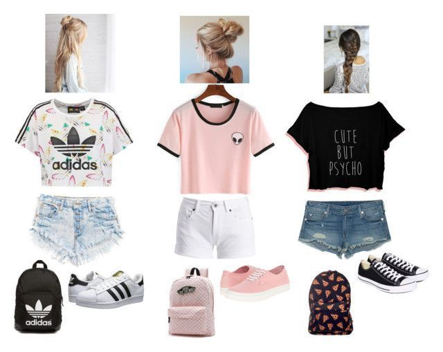 """Summer outfits for teen girls ;)"" by luv2dance04 ❤️ liked on Polyvore featuring adidas Originals, Barbour International, True Religion, Converse and Vans"