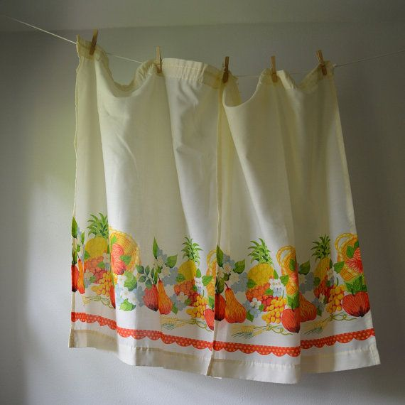 White Vintage Kitchen Curtains: Vintage Curtain Panels 1970's Kitchen Curtains Fruits And