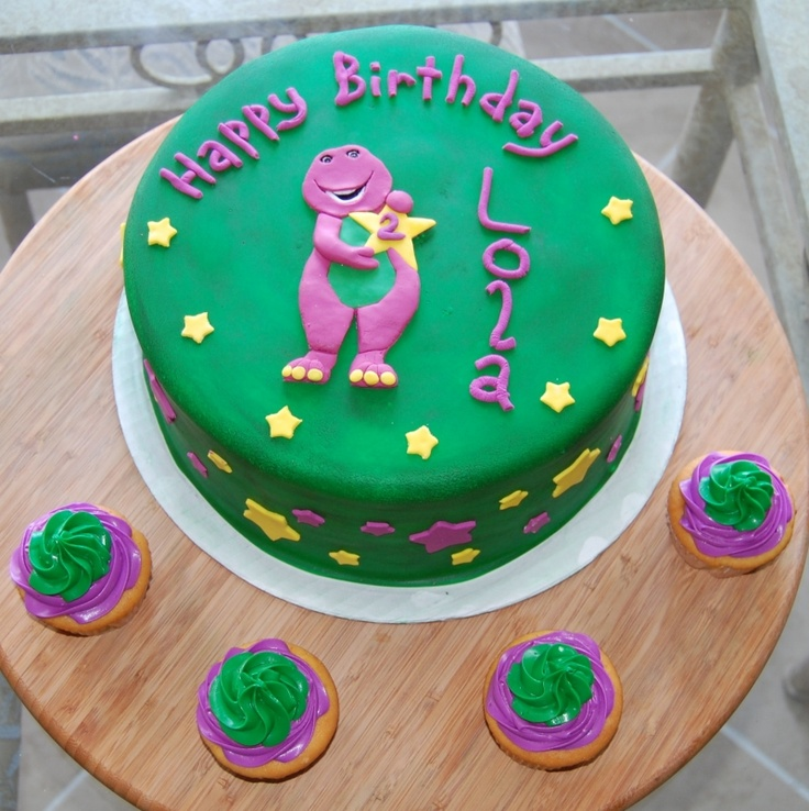 Barney Party ~ Desserts ~ Cake and cupcakes (cupcake frosting pattern is adorable!)