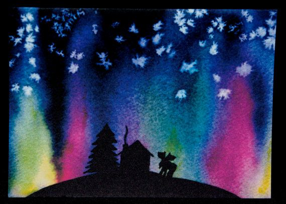northern lights watercolour
