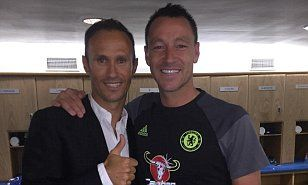 Ricardo Carvalho reunites with John Terry at Stamford Bridge after Chelsea's victory over West Ham...