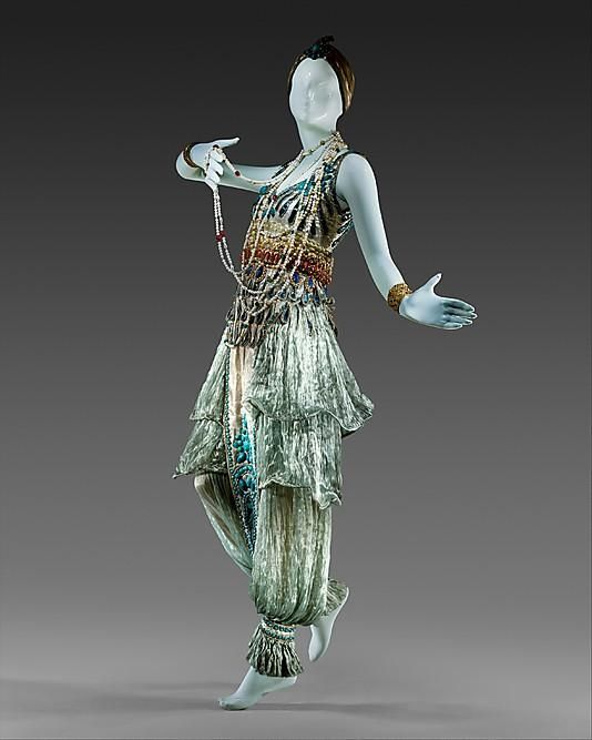 """1911 France. Paul Poiret. This costume was sewn fashion designer Paul Poiret specifically for the Ball """"in 1000 and 2 nights."""""""
