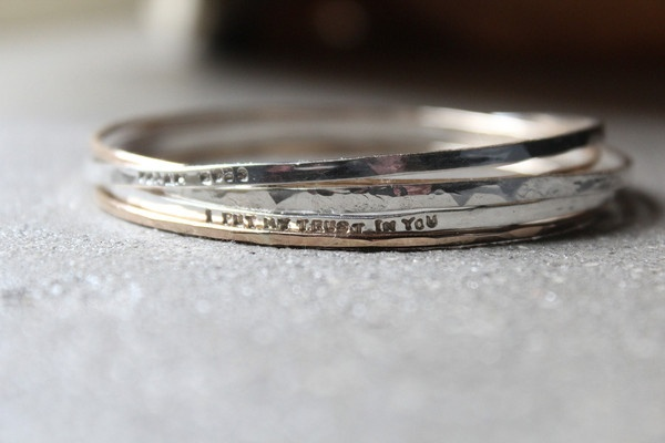 tinahdee beautiful jewelry — Personalized Bangle Set with Sterling and 14k Gold Filled Recycled Metal