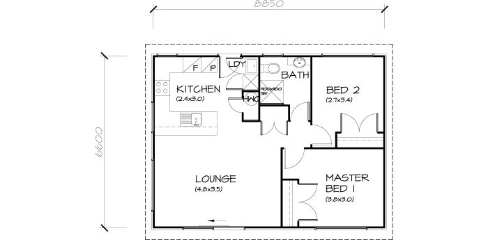 PLB60 2 Bedroom Transportable Homes House Plan | SB Garage ...