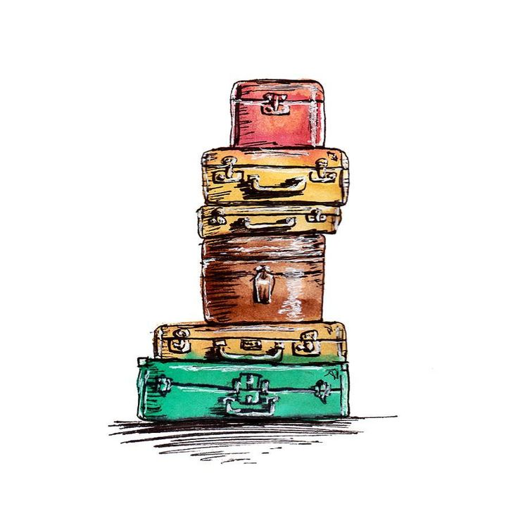 Rent lease is coming to an end in a few weeks, so starting to pack things up again * sigh*. Fun times ahead (she says sarcastically)  Mixed media sketch. Watercolour, black and white uniball (gel?) pens, scanned and edited in photoshop.  #sketchbookpeek #mixedmedia #vintagesuitcases #watercolour #ink #drawing #illustration #perthillustrator #creativeprocess #paperfortdesigns #pinterestreference