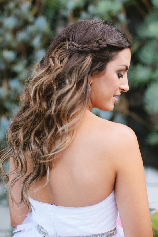 wedding hair, half up, loose curls, braid accent