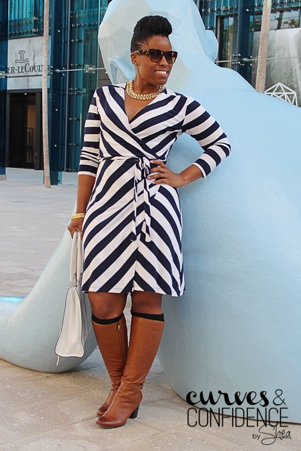 Oldnavy Wrap dress   Knee high boots   White Purse   Natural Updo