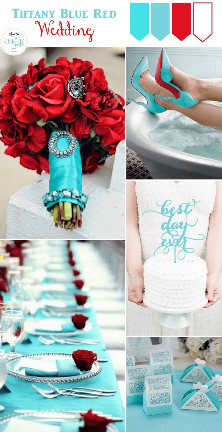 Tiffany Blue and Red Wedding Inspiration - KnotsVilla